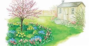 Blumenbeete Zum Nachpflanzen : zum nachpflanzen fr hlingsbeet unter zierkirsche mein sch ner garten ~ Yasmunasinghe.com Haus und Dekorationen