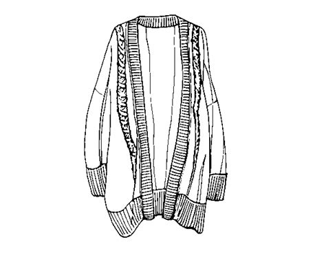 Long Open Sweater Coloring Page