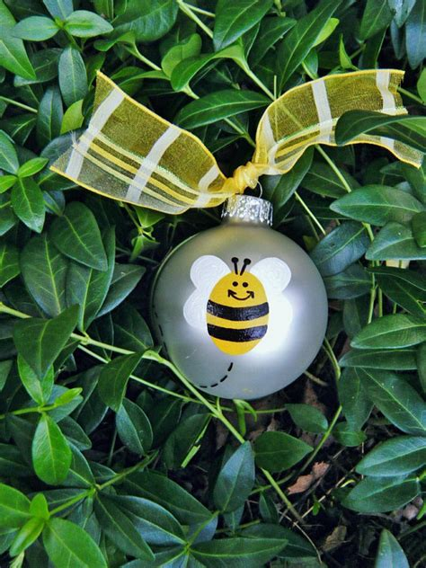 bumble bee ornament personalized handpainted glass christmas