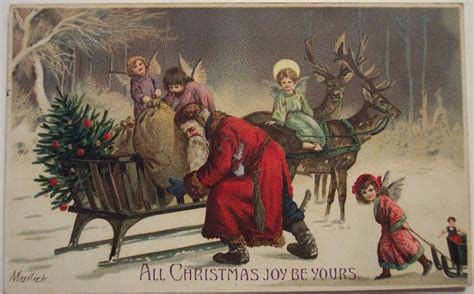 vintage traditional christmas card santa claus the spirit of christmas present