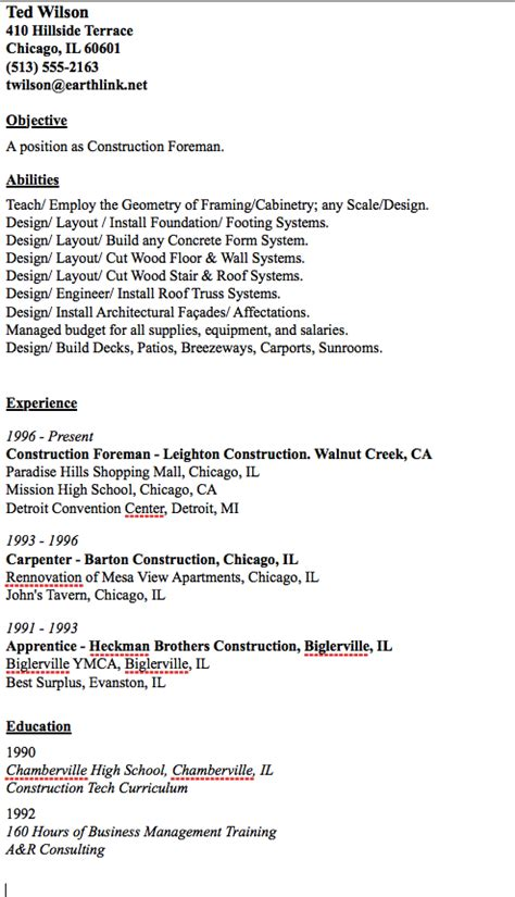 sle of construction foreman resume http