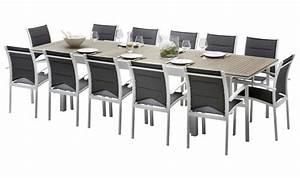 Table De Jardin Aluminium 12 Personnes : salon de jardin complet aluminium et bois 12 fauteuils ~ Edinachiropracticcenter.com Idées de Décoration