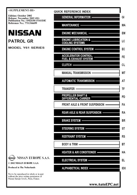 small engine repair manuals free download 2011 nissan armada electronic toll collection nissan patrol gr y61 series service manual repair manual order download