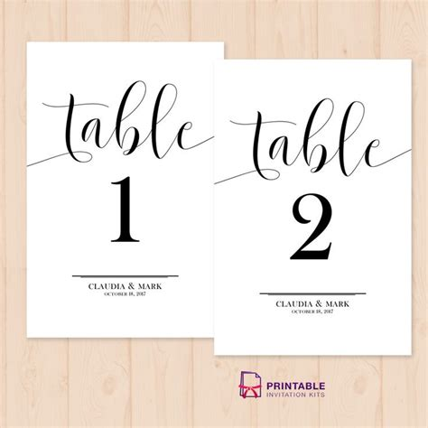 table numbers  printable  template easy  edit