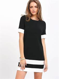 color block stripe short sleeve shift dress sheinsheinside With robe droite manche courte