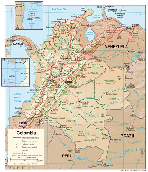 large detailed physiography map  colombia  major
