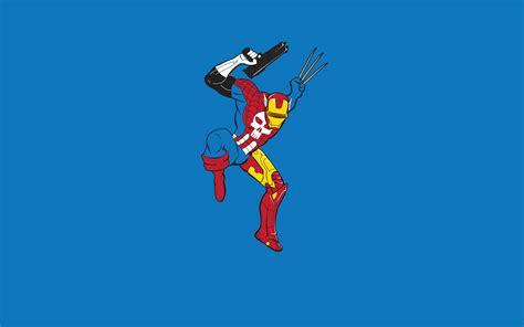 Captain America Cyclops Iron Man Minimalistic Spider