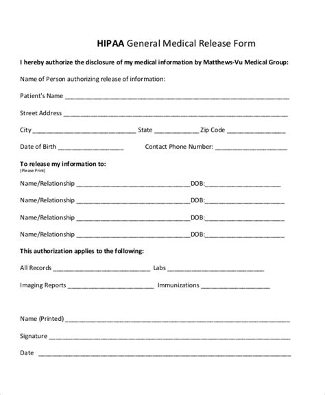 Hipaa Release Form In Spanish