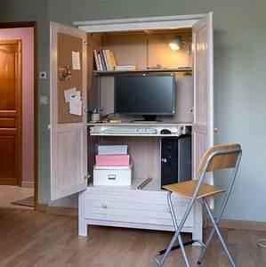Armoire De Rangement Bureau : transformer une armoire en bureau marie claire ~ Melissatoandfro.com Idées de Décoration