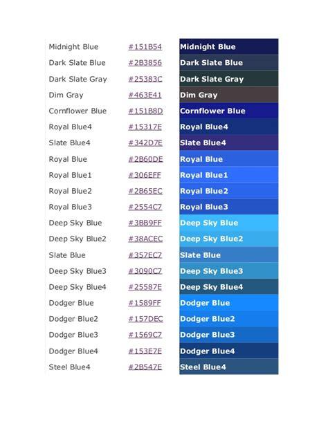 blue color codes color code