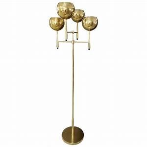Mid century modern four arm brass floor lamp by stiffel at for Modern 5 arm floor lamp