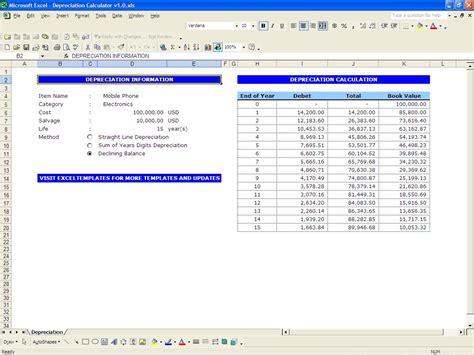 depreciation calculator excel templates