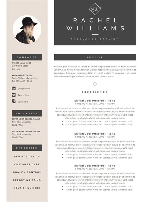 Template De Cv Gratuit by 4 Page Resume Cv Template Cover Letter For Ms Word