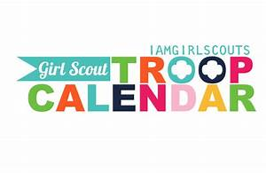 girl scout troop calendar graphic blue flag no troop level With girl scout calendar template