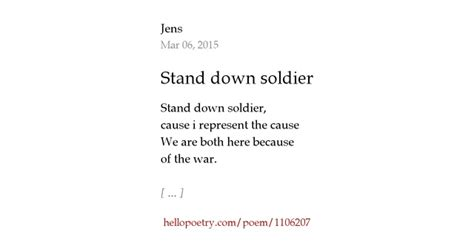 stand  soldier  jens  poetry