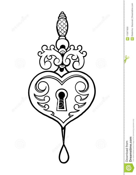 Graphic Heart Shaped Lock And Knife Stock Vector - Illustration of line, print: 115871830