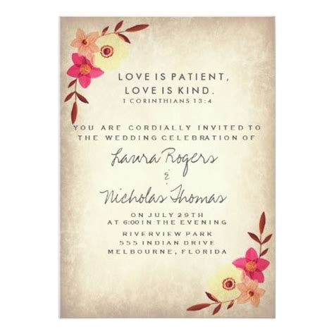 christian anniversary cards template christian bible verse rustic country floral invitation