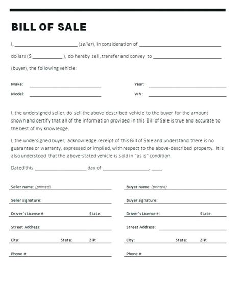 car bill of sale word receipt of sale of vehicle 6 bill of sale form for car