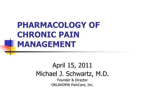 pharmacology  chronic pain management powerpoint