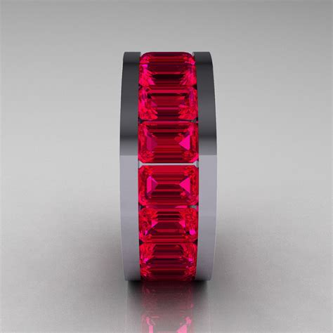 mens modern  white gold ruby channel cluster infinity