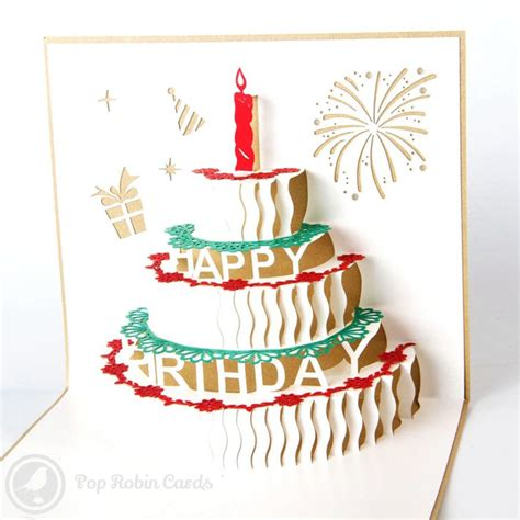 birthday cake with candles 3d pop up birthday greeting