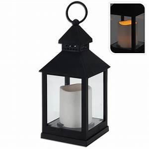 Laterne Kerze Draußen : laterne mit led kerze schwarz wei 23 cm hoch online ~ Watch28wear.com Haus und Dekorationen