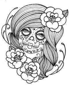 Adult Coloring Pages: Punk Girl 2 | Skull coloring pages, Skull girl tattoo, Sugar skull girl tattoo