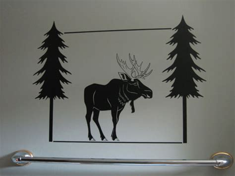 moose  pine tree vinyl wall graphic