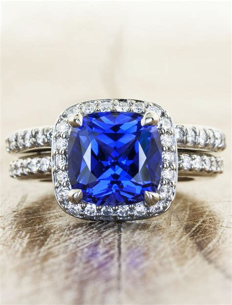 nora halo cultured sapphire engagement ring in palladium ken