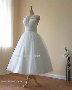 retro inspired tea length wedding dress vintage style organza With retro wedding dresses