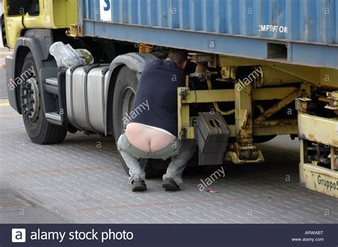 funny cargo container truck driver stock photo alamy