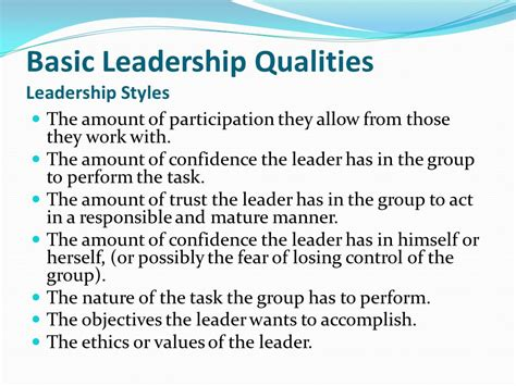 basic leadership qualities ppt
