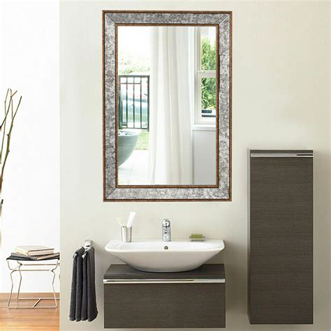 wall mirror beveled rectangle vanity bathroom