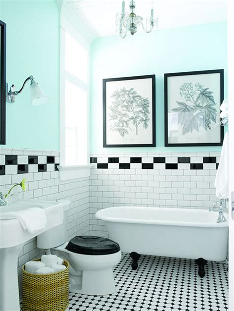 black and white tile bathroom with teal walls a