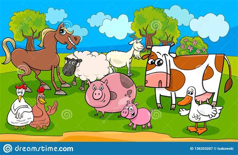 Learn or review the farm animals with this easy revision activity. Funny Farm Animals Cartoon Vector Illustration Stock ...