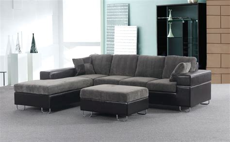 sectional with chaise and ottoman furniture faux leather and microfiber small sectional