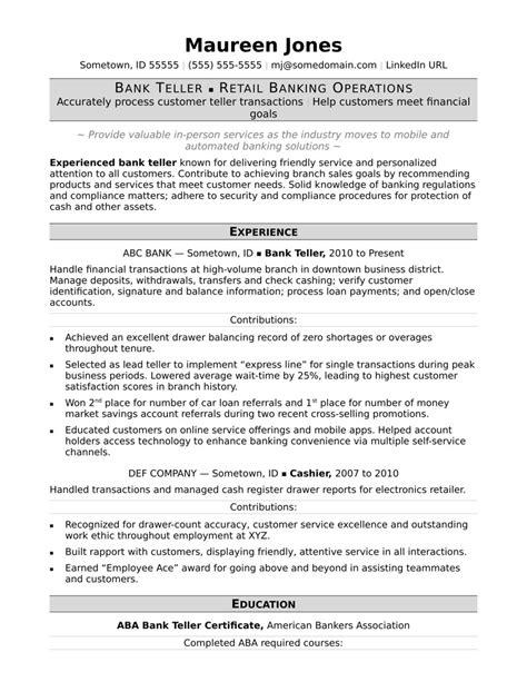 Bank Teller Resume Sle by Bank Teller Resume Sle