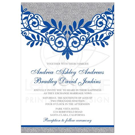 royal blue silver wedding invitation royal blue silver