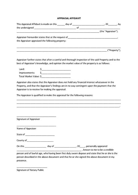 free affidavit template appealing appraisal affidavit form template sle featuring signature of notary thogati