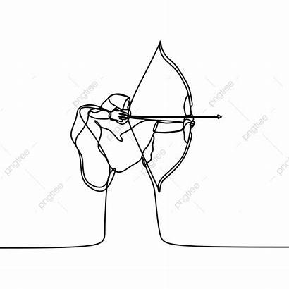 Hijab Line Drawing Continuous Archery Playing Kartun