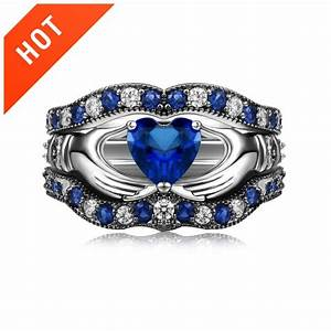 blue diamond claddagh engagement ring set evermarker With diamond claddagh wedding ring sets