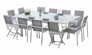 Table De Jardin Aluminium 12 Personnes : salon de jardin 12 personnes en aluminium blanc et plateau ~ Edinachiropracticcenter.com Idées de Décoration