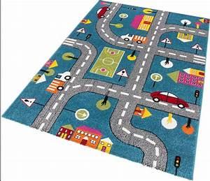 Tapis Rond Enfant : tapis pour enfant motif play moderne route bleu vert gris pas cher ~ Teatrodelosmanantiales.com Idées de Décoration
