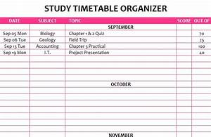 Free Inventory Templates Study Timetable Organizer My Excel Templates