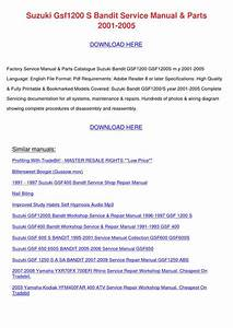 Suzuki Gsf1200 S Bandit Service Manual Parts By