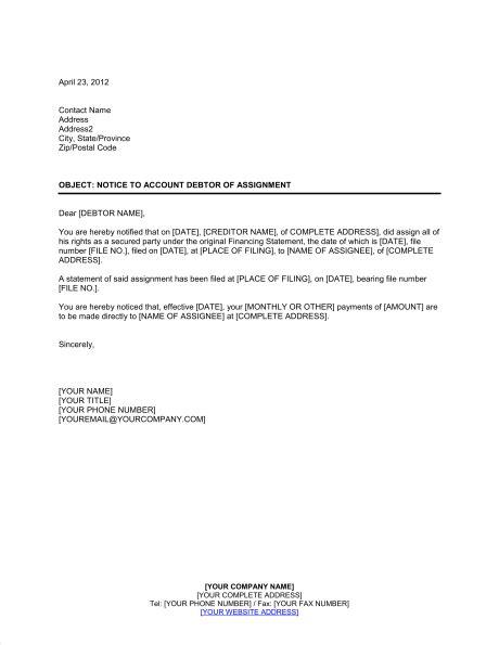 notice  account debtor  assignment template sample