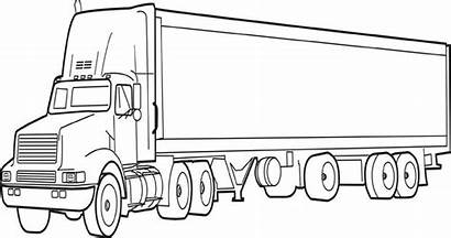 Coloring Truck Pages Printable Trailer Tractor Semi