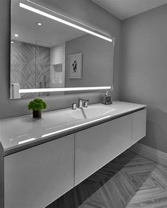 Modern, Guest, Bathroom, With, Gray, And, White, Vanity, And, Contemporary, Floor, And, Wall, Tile