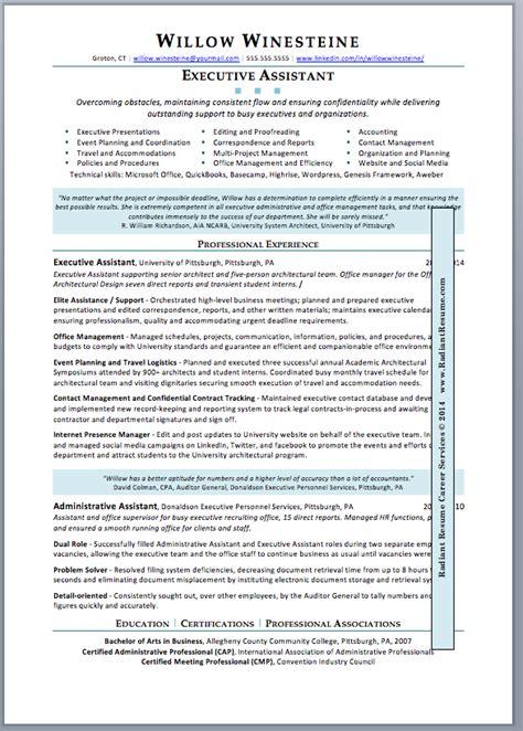executive assistant description resume sle