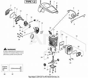 Poulan P3816 Gas Chain Saw Type 1 Parts Diagram For Engine
